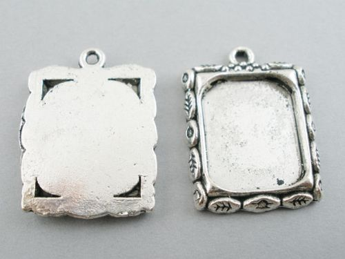 10 x Silver Picture Frame Pendants 22x19mm